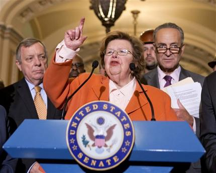 Senate Appropriations Committee Chair Sen. Barbara Mikulski, D-Md., flanked by Senate Majority Whip Richard Durbin of Ill., left, and Sen. Charles Schumer, D-N.Y., speaking on Capitol Hill in Washington (AP)